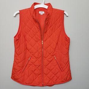 💖Crown & Ivy Tomato Red / Orange Quilted Vest